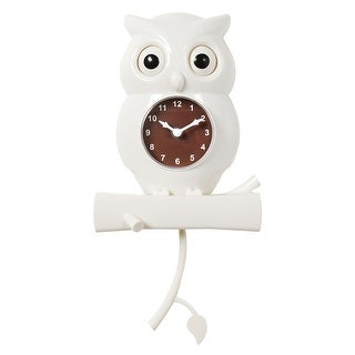 What On Earth White Owl Pendulum Wall Clock - Bird with Moving Eyes Battery Powered Timepiece - 1.5 in. x 7.25 in. x 10.5 in.