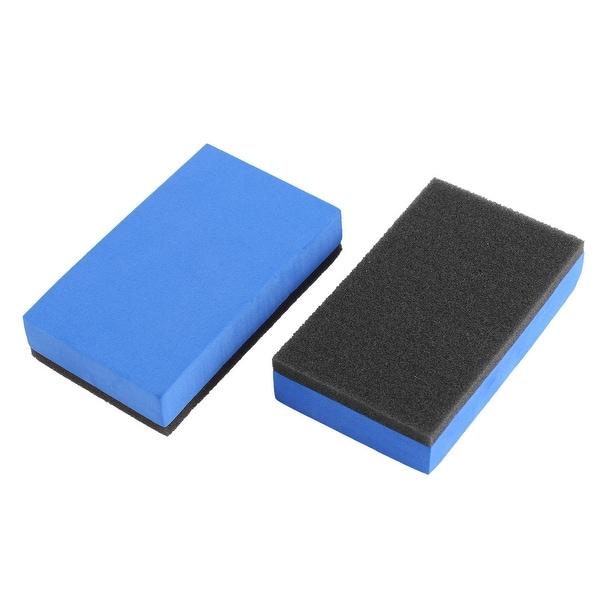 2Pcs Durable Practical Car Sponge Polishing Pad Waxing Buffing Tool Blue Black