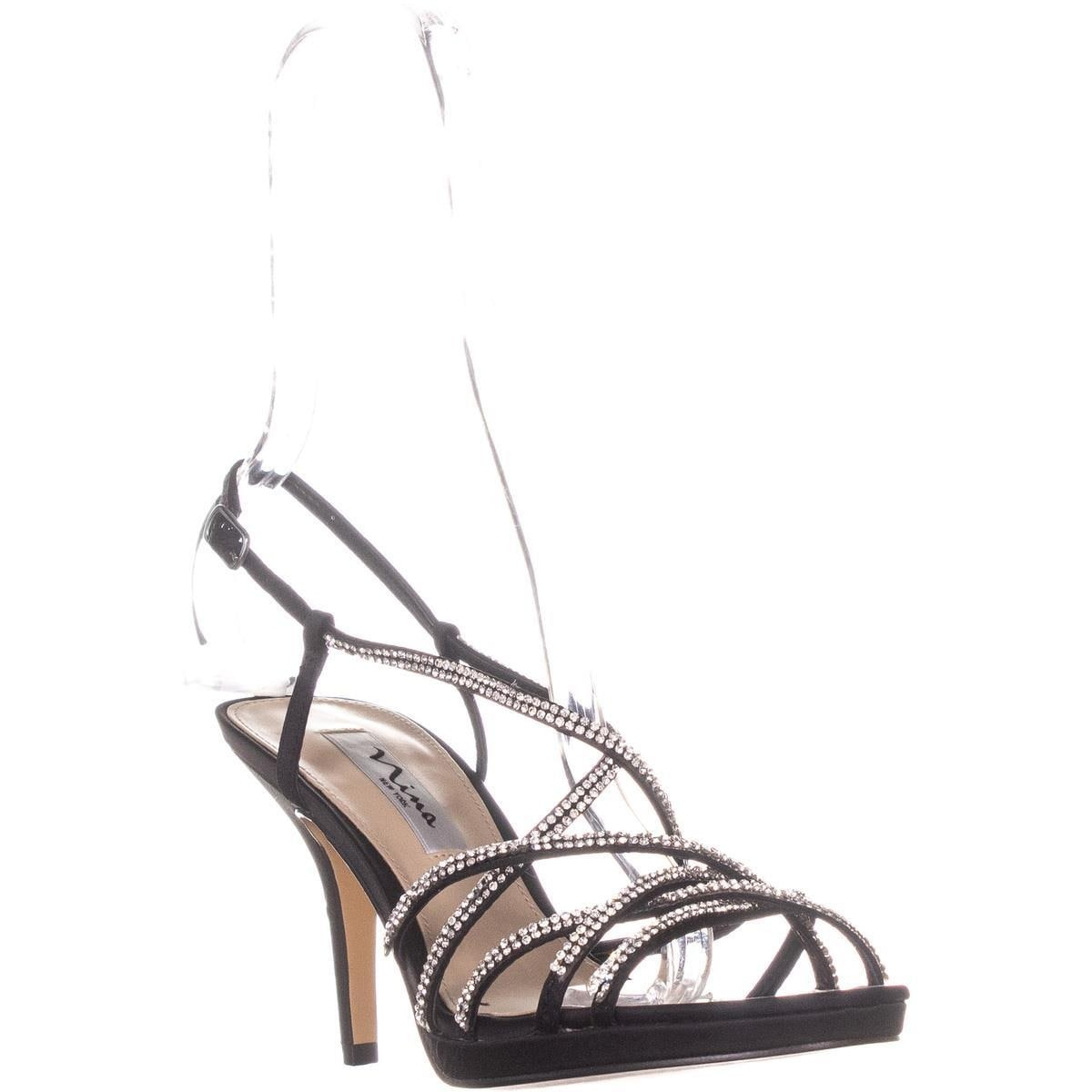 a59cd55ec Shop Nina Vilma Strappy Evening Buckle Sandals, Black Luster - 7.5 ...