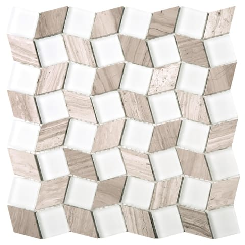 "TileGen. Geometry Diamond Mix 1.3"" x 1.3"" Marble Mosaic Tile in White/Brown Wall Tile (10 sheets/8.8sqft.)"