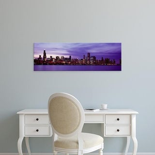 Easy Art Prints Panoramic Images's 'Skyscrapers in a city lit up at night, Chicago, Illinois, USA' Premium Canvas Art