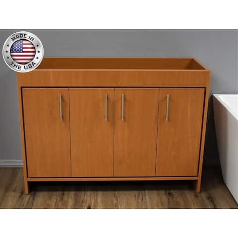 Volpa USA Villa 48-inch Honey Maple Freestanding Bathroom Cabinet