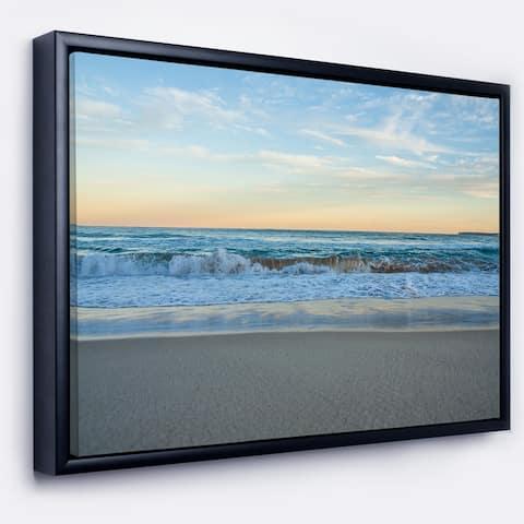 Designart 'Blue Splashing Scene Beach' Large Seashore Framed Canvas Print