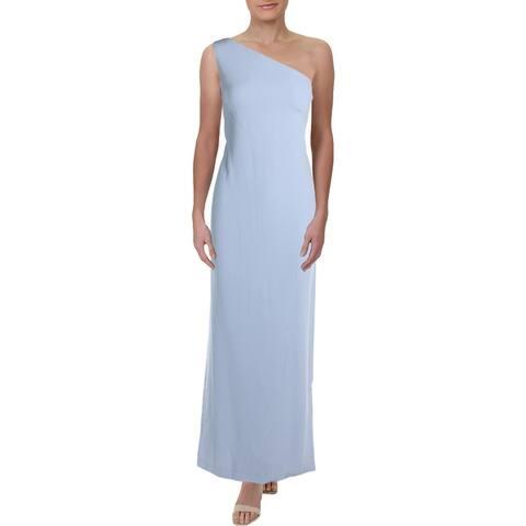 Lauren Ralph Lauren Womens Deannie Evening Dress Cape-Detail One-Shoulder - Blue