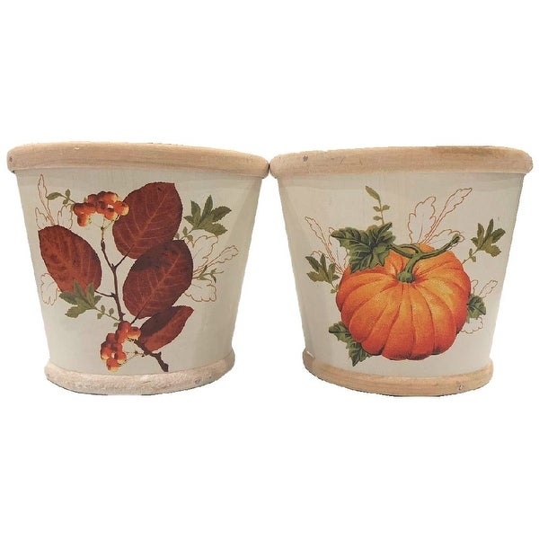 """Homvare 4.5"""" Round Fall Woodchip Pot Cover 2 Assorted Styles - White"""