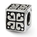 Sterling Silver Reflections Heart Cube Bead (4mm Diameter Hole) - Thumbnail 0
