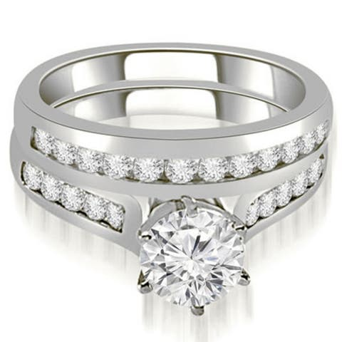 1.16 CT Channel Round Cut Diamond Matching Bridal Set in 14KT Gold - White H-I