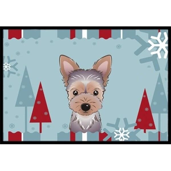 Carolines Treasures BB1728JMAT Winter Holiday Yorkie Puppy Indoor & Outdoor Mat 24 x 36 in.