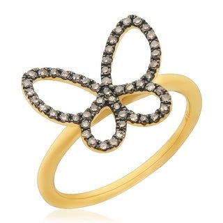 Attractive 0.26Ct Brown Color Round Diamond Butterfly Ring