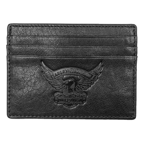 "Harley-Davidson Men's Eagle Embossed Leather Front Pocket Wallet EE9076L-BLK - 4.5"" x 3.5"""