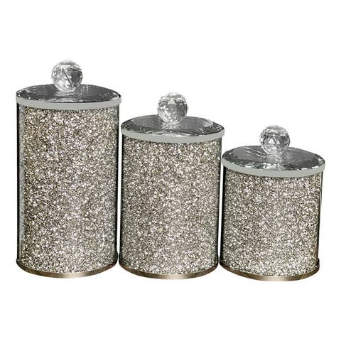 """Ambrose Exquisite Three Glass Canister Set in Gift Box - L: 4"""" D x 8"""" H; M: 4"""" D x 7"""" H; S: 4"""" D x 5.5"""" H"""