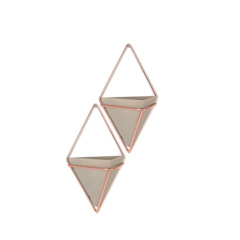 Umbra 470753 Trigg Two Piece Concrete Wall Mounted Planter Set with Metal Frame by Moe Takemura -