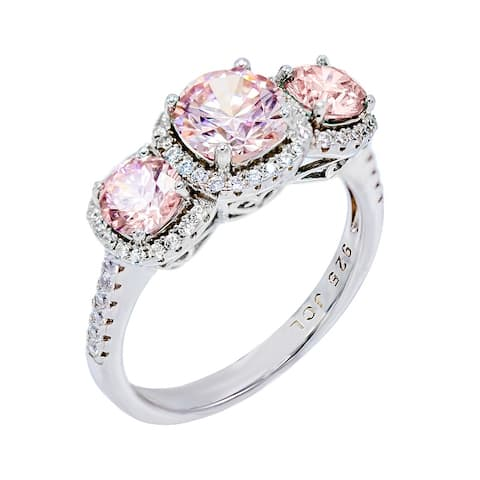 3-Stone Simulated Colored CZ Engagement Ring, Sterling Silver