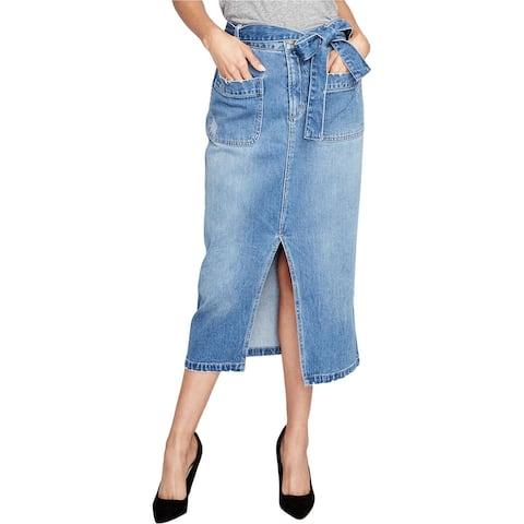 Rachel Roy Womens Sash-Belted Denim Skirt, Blue, 10