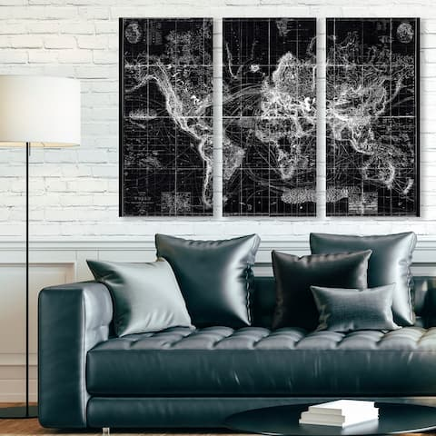 Oliver Gal 'Chart of the World 1863 Triptych' Maps and Flags Wall Art Canvas Print Set - Black, White
