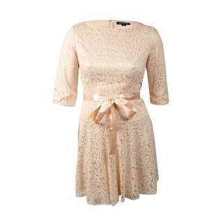 Tahari Women's Ribbon-Belt Glittered A-Line Dress - Blush Pink