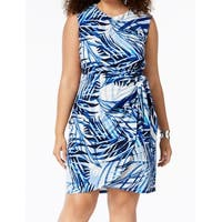 Jessica Howard Blue White Womens 20W Plus Sleeveless Sheath Dress