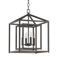 "Park Harbor PHPL5114 17"" Wide 4 Light Single Tier Candle Style Chandelier with Lantern Style Shade"