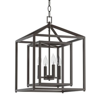 "Park Harbor PHPL5114 17"" Wide 4 Light Single Tier Candle Style Chandelier with Lantern Style Shade (2 options available)"
