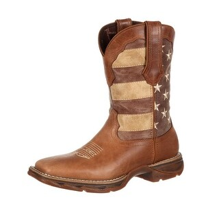 Durango Western Boots Womens Faded USA Flag Square Brown