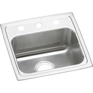 """Elkay LRAD171655  Lustertone 17"""" Single Basin Drop In Stainless Steel Bar Sink"""