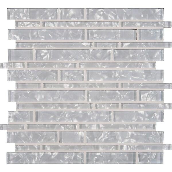 "MSI GLSIL-AKOYA8MM 12"" x 12"" Linear Mosaic Wall Tile - Smooth Glass Visual - Sold by Carton (10 SF/Carton) - Glossy"