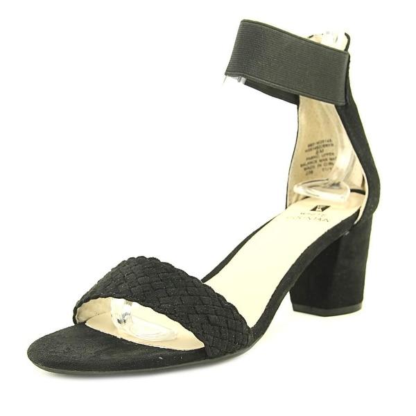 White Mountain Eryn Women Open Toe Suede Black Sandals