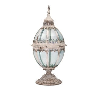 "22.25"" Distressed Finished Iron Framed White Glass Lantern"
