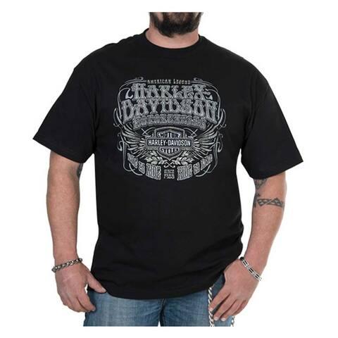 387872fbd8 Harley-Davidson Men's Winged Lines Short Sleeve Crew-Neck T-Shirt, Black