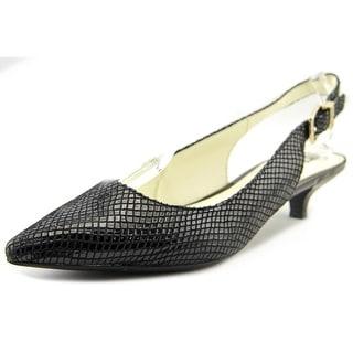 Anne Klein Expert Women Pointed Toe Leather Black Slingback Heel