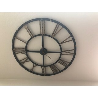 """Sterling Metal Framed Roman Numeral Open Back Wall Clock - 28""""w x 1""""d x 28""""h"""