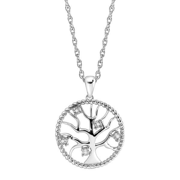 Tree of Love Pendant with Diamonds in Sterling Silver
