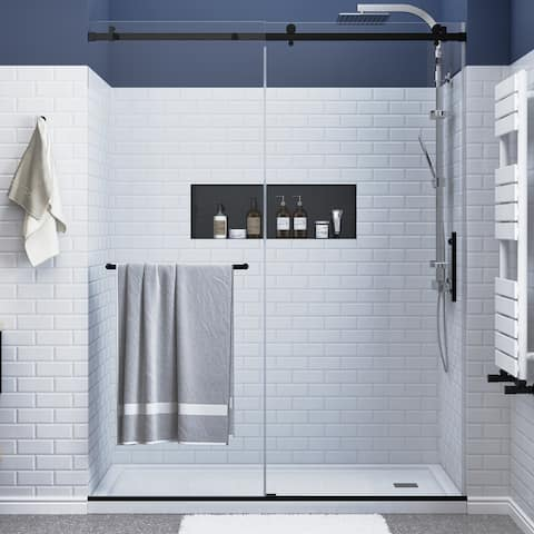 """FELYL 56-60"""" W × 76"""" H Single Sliding Frameless Shower Door with Heat Soaking Process and Protective Coating Clear Glass"""