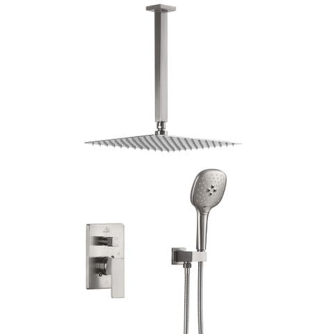 ExBrite Shower Faucet Brushed Nickel 12 inch Luxury Rain Mixer Shower Combo Set Ceiling Mounted Rain Shower Head System