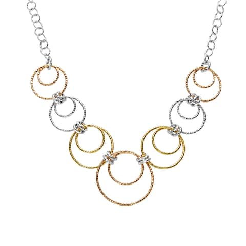 Circle Necklace in 18K Two-Tone Gold-Plated Sterling Silver - three-tone