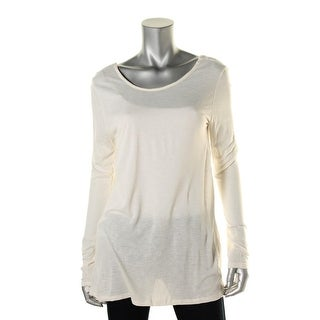 Zara T-Shirt Collection Womens Scoop Back Hi-Low Pullover Top - L