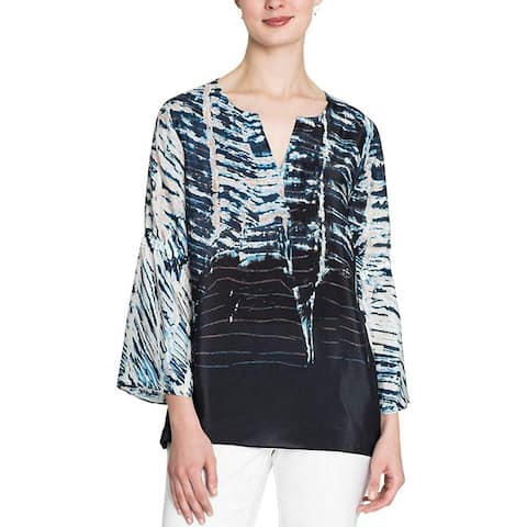 Nic + Zoe Women's Tinago Silk Blend Bell Sleeves Blouse, Multi, Small