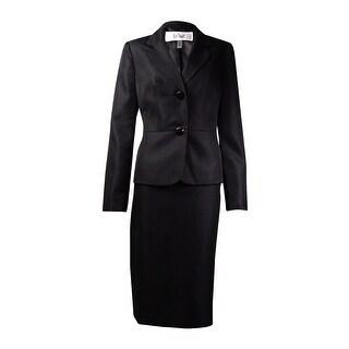Le Suit Women's Quebec Woven Skirt Suit (4, Black) - 4