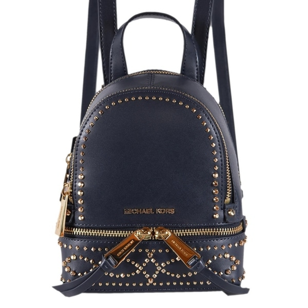 7dd5ba1fa948 Michael Kors Dark Blue Leather Embellished RHEA MINI XS Backpack Bag -  6.25
