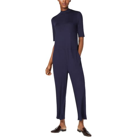 Eileen Fisher Womens Jersey Jumpsuit, blue, X-Large