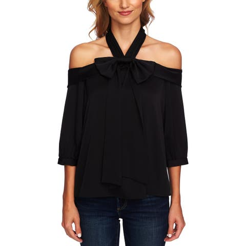 CeCe Womens Halter Top Bow Cold Shoulder
