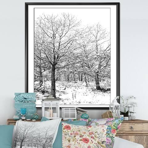 Designart 'Silent Snow Fall' Cottage Framed Art Print