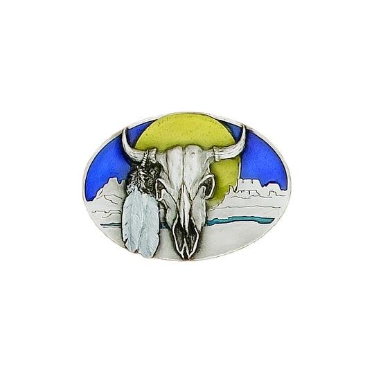 Buffalo Skull with Rising Sun Belt Buckle - One size