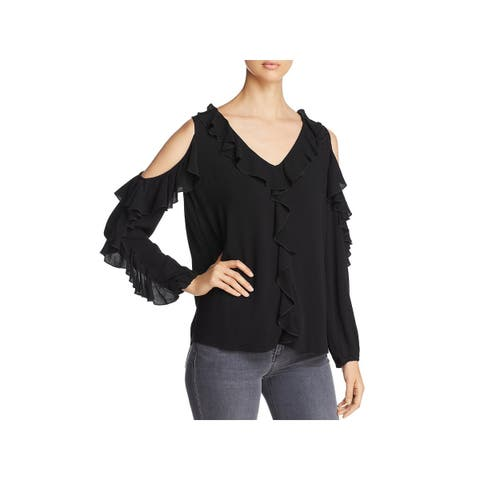 Love Scarlett Womens Blouse Cold Shoulder Ruffled