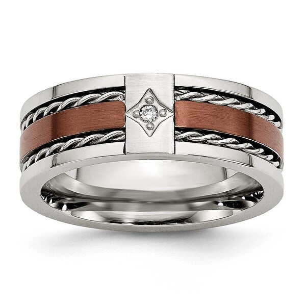 Chisel Stainless Steel Brown IP Plated with Diamond 8mm Band