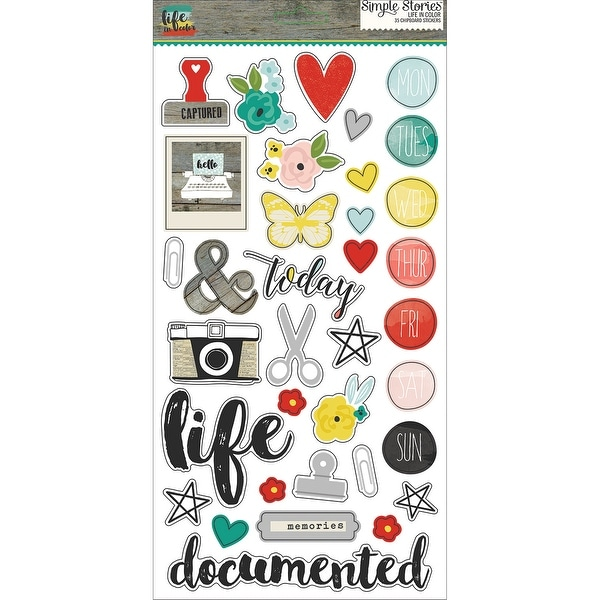 "Life In Color Chipboard Stickers 6""X12""-"