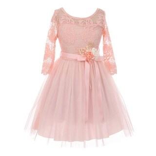 Girls Blush Lace Tulle Handmade Flower Easter Dress