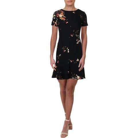 Lauren Ralph Lauren Womens Petites Darris Wear to Work Dress Floral Print Crepe