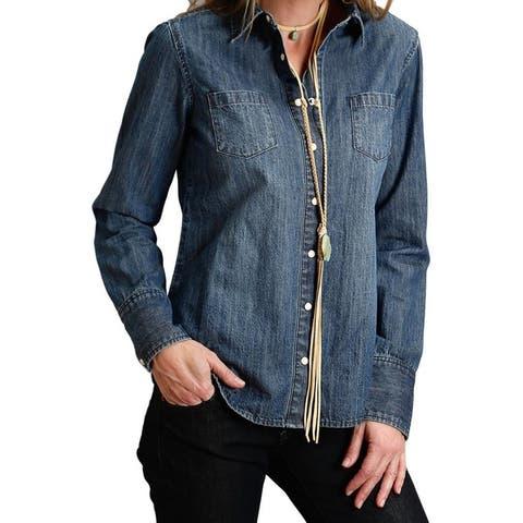 Stetson Western Shirt Womens Cowboy Code L/S Blue