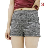 Women Gray Size S Dual Pockets Quick Dry Skinny Running Yoga Sport Shorts Pants